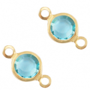 Metaal bedels DQ tussenstuk crystal glas rond 6mm Gold-Baltic blue crystal