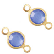 Metaal bedels DQ tussenstuk crystal glas rond 6mm Gold-Victoria blue crystal