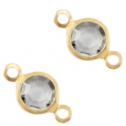 Metaal bedels DQ tussenstuk crystal glas rond 4mm Gold-Grey crystal