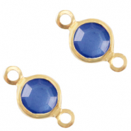 Metaal bedels DQ tussenstuk crystal glas rond 4mm Gold-Victoria blue crystal