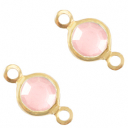 Metaal bedels DQ tussenstuk crystal glas rond 4mm Gold-Rose pink crystal