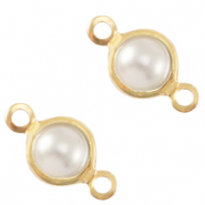 Metaal bedels DQ tussenstuk parel 4mm rond Gold-White