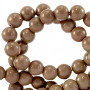 Glaskralen 6 mm opaque Rocky road brown