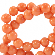 Glaskralen 8 mm opaque Coral nectarine orange