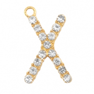 Basic quality metaal bedel strass initial X Goud