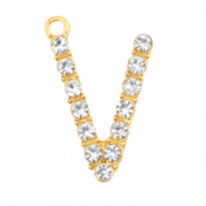 Basic quality metaal bedel strass initial V Goud