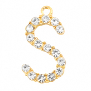 Basic quality metaal bedel strass initial S Goud