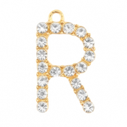 Basic quality metaal bedel strass initial R Goud
