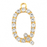Basic quality metaal bedel strass initial Q Goud