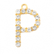 Basic quality metaal bedel strass initial P Goud