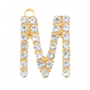 Basic quality metaal bedel strass initial M Goud