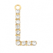 Basic quality metaal bedel strass initial L Goud