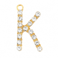 Basic quality metaal bedel strass initial K Goud