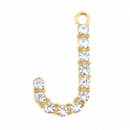 Basic quality metaal bedel strass initial J Goud