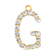 Basic quality metaal bedel strass initial G Goud