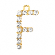 Basic quality metaal bedel strass initial F Goud