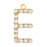 Basic quality metaal bedel strass initial E Goud