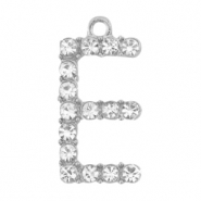Basic quality metaal bedel strass initial E Antiek zilver