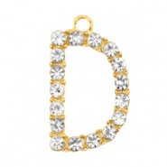 Basic quality metaal bedel strass initial D Goud