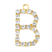 Basic quality metaal bedel strass initial B Goud