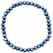Facet armbanden top quality 6x4mm Blue stone-pearl shine coating