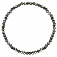 Facet armbanden top quality 4x3mm Dark olive green-pearl shine coating