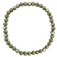 Facet armbanden top quality 6x4mm Olive green-pearl shine coating