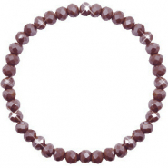 Facet armbanden top quality 6x4mm Rocky road brown-pearl shine coating