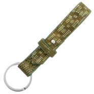 Cuoio leren sleutelhangers 15 mm croco Olive green-silver