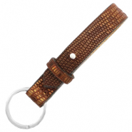 Cuoio leren sleutelhangers 15 mm croco Colonial brown-gold