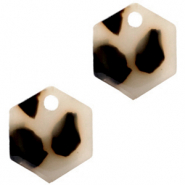 Hangers van Resin hexagon Cream black