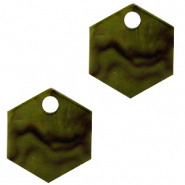 Hangers van Resin hexagon Olive green