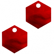 Hangers van Resin hexagon Cherry red