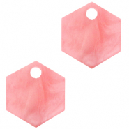 Hangers van Resin hexagon Living coral pink