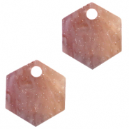 Hangers van Resin hexagon Sugar almond taupe