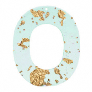 Hangers van Resin ovaal Blue gold-transparant