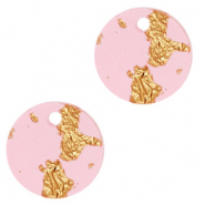 Hangers van Resin rond 12mm Pink gold-transparant
