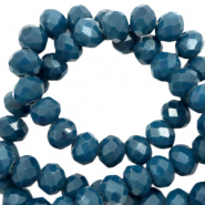 Facet kralen top quality disc 8x6 mm Deep teal blue-pearl shine coating