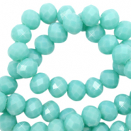 Facet kralen top quality disc 4x3 mm Tiffany blue-pearl shine coating