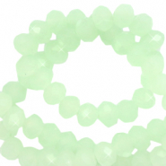 Facet kralen top quality disc 4x3 mm Crystal green ash-pearl shine coating