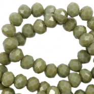 Facet kralen top quality disc 4x3 mm Dusty olive green-pearl shine coating