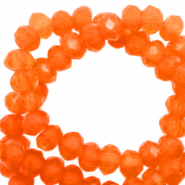 Facet kralen top quality disc 6x4 mm Tigerlilly orange-pearl shine coating