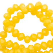 Facet kralen top quality disc 4x3 mm Sunshine yellow-pearl shine coating