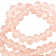 Facet kralen top quality disc 4x3 mm Peachy rose-pearl shine coating