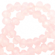 Facet kralen top quality disc 6x4 mm Crystal coral pink-pearl shine coating