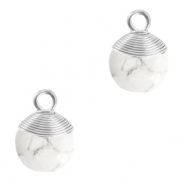 Hangers van natuursteen wire wrapped White marble-silver