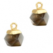 Hangers van natuursteen hexagon Black diamond-gold
