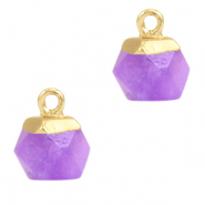 Hangers van natuursteen hexagon Purple-gold