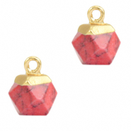 Hangers van natuursteen hexagon Red marble-gold