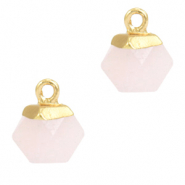 Hangers van natuursteen hexagon Icy pink-gold